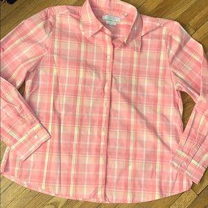 Foxcroft Pink Plaid Wrinkle Free Button Down